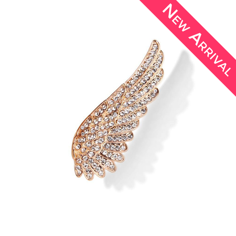 CZ Angel Wing Gold Plated Brooch - 1