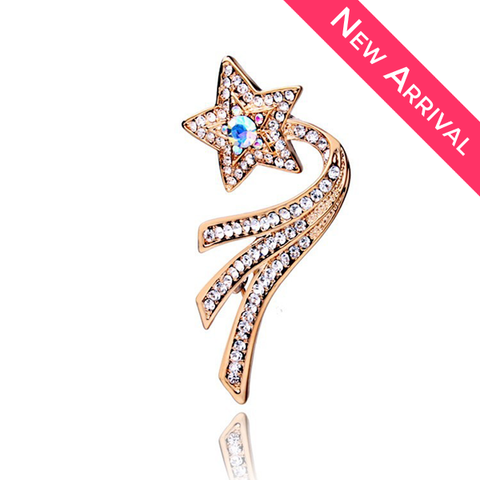 Rose Gold Plated CZ Shooting Star Brooch - 1