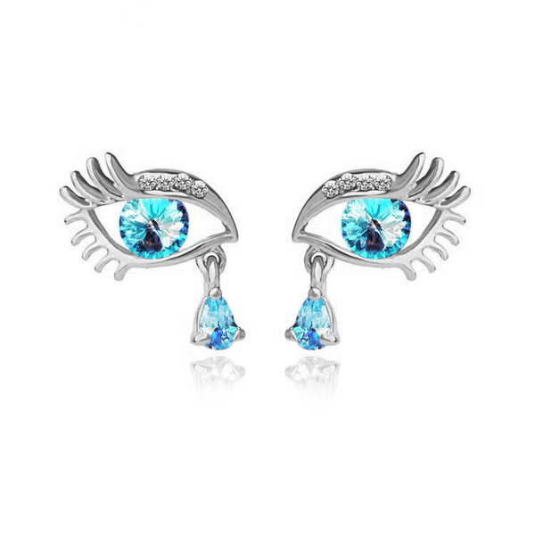 Silver Plated Blue Teardrop Eye Earrings - 3