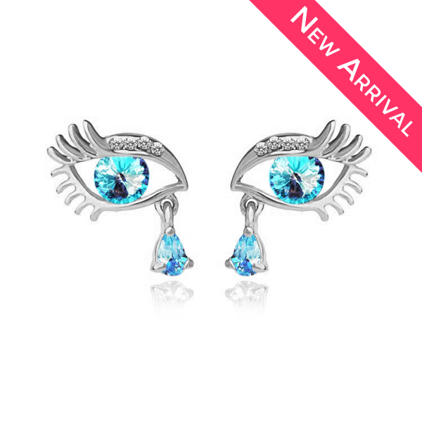 Silver Plated Blue Teardrop Eye Earrings - 2
