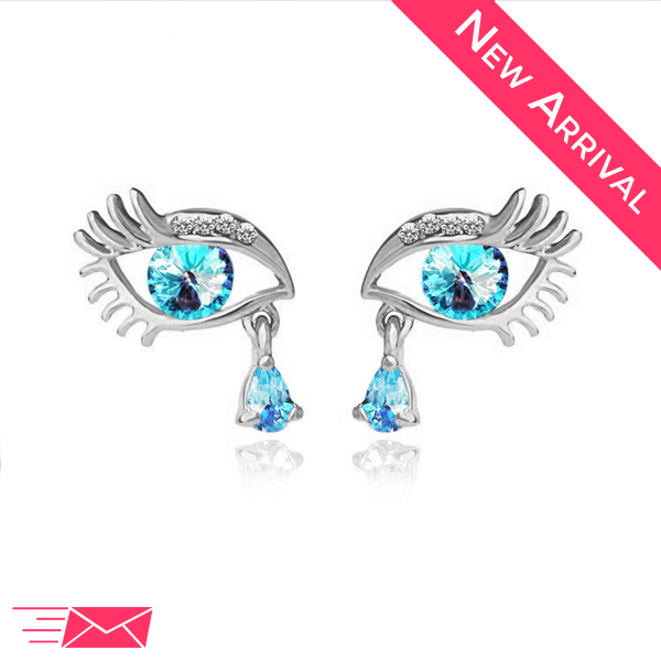 Silver Plated Blue Teardrop Eye Earrings - 1