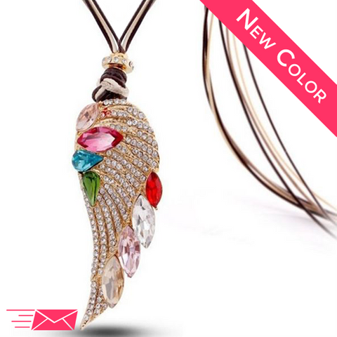 Spring Angel Wing Long Necklace - 1