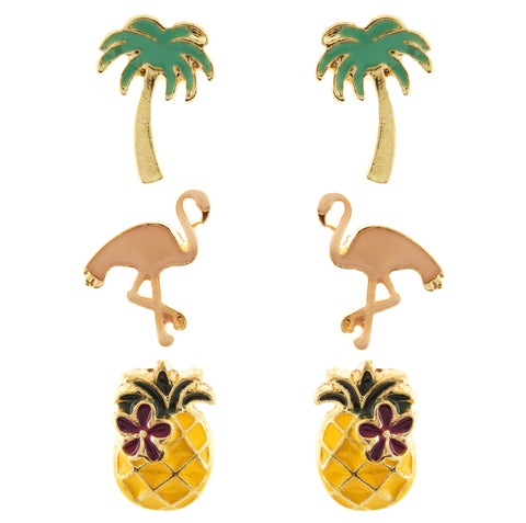 Flamingo Tropical Mix Earring Set