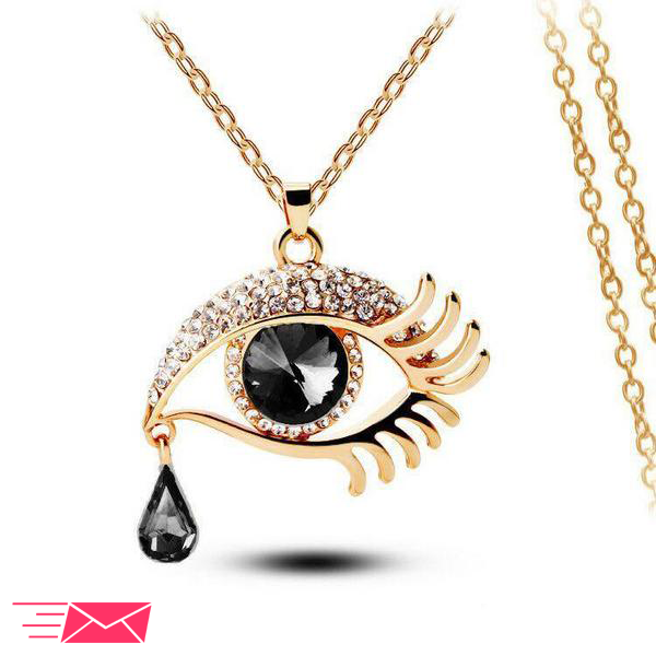 Black Eye With Tears Gold Plated Necklace - 1