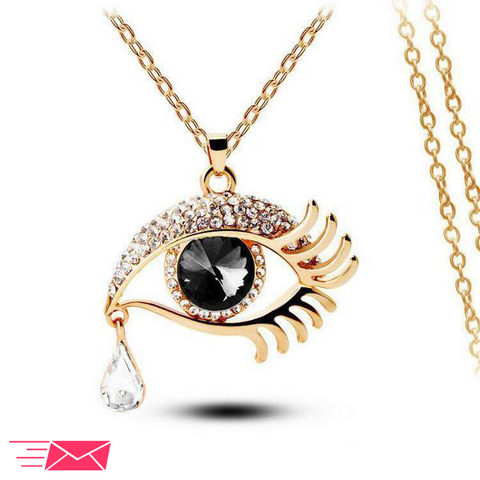 Black Eye With Clear Teardrop Gold Plated Necklace - 1