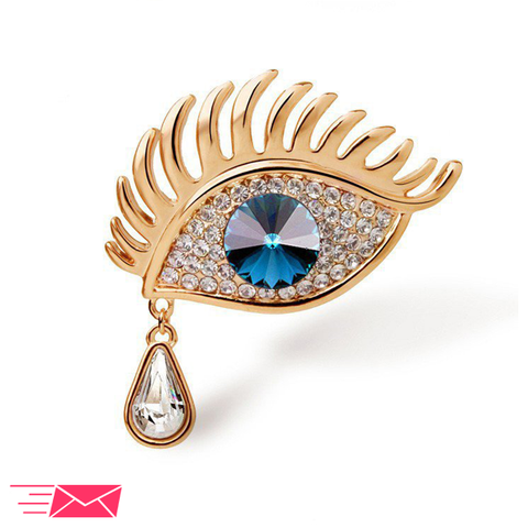 Gold Plated Blue Eye Brooch - 1