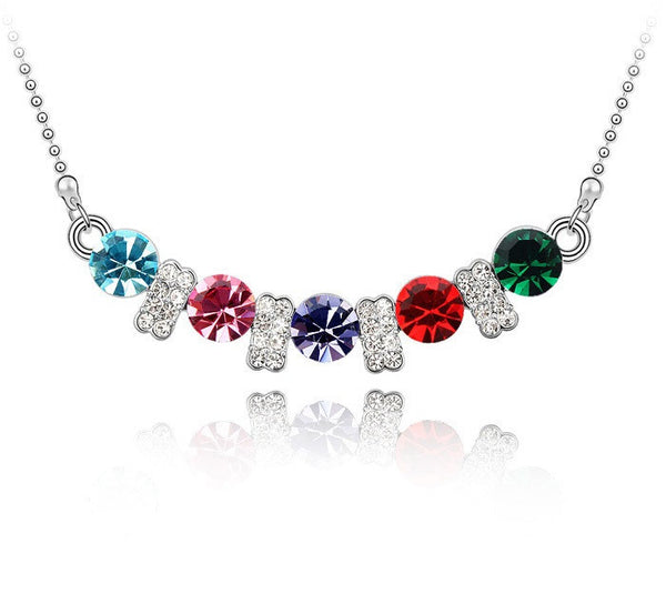Silver Plated Colorful Necklace - 1
