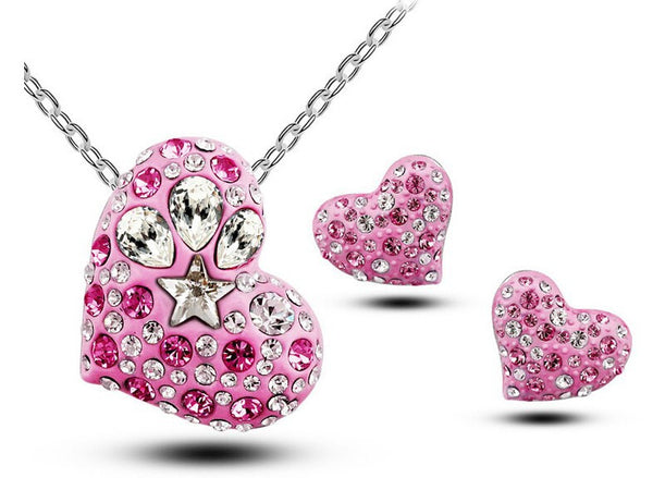 Sweet Candy Pink Heart Necklace With Earrings - 1