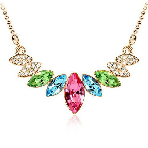 Gold Plated Crystal Leaves Necklace