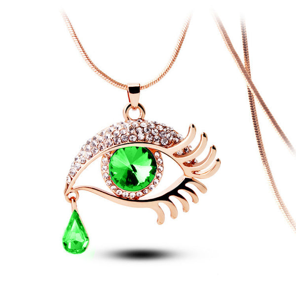 Green Eye With Tears Rose Gold Plated Necklace - 2