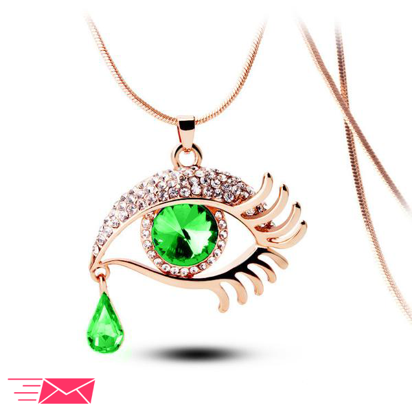 Green Eye With Tears Rose Gold Plated Necklace - 1