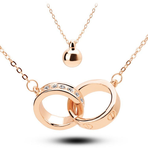 Connected Rings Gold Plated Necklace - 1
