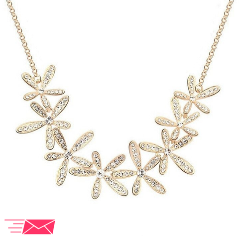 Gold Plated Flowers Necklace - 1