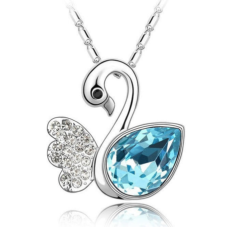 Silver Plated Swan Necklace - 1