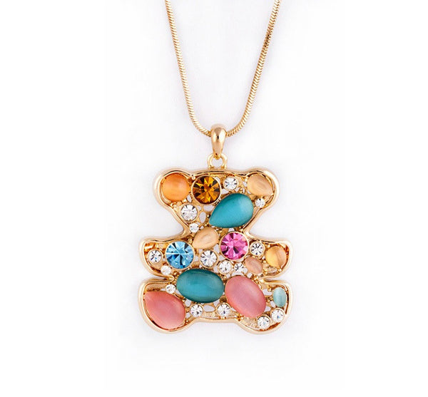 Gold Plated Bear Necklace With Crystals - 1