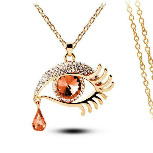 Brown Eye With Tears Gold Plated Necklace - 2