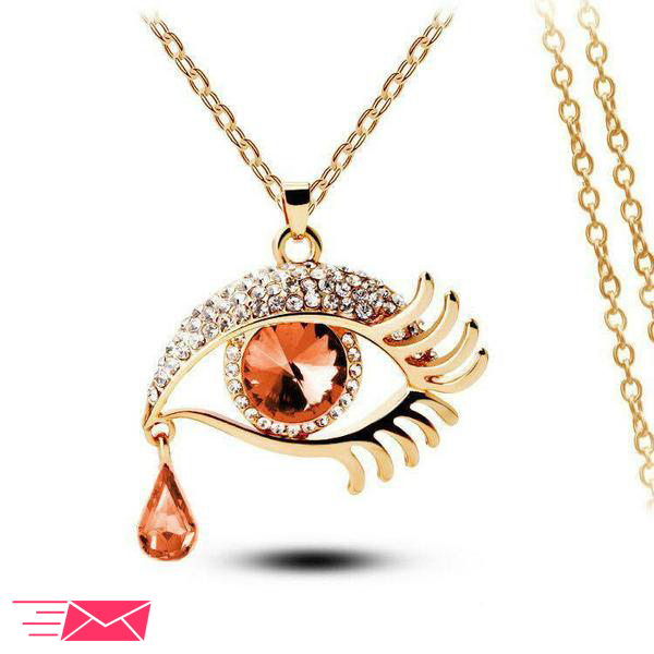Brown Eye With Tears Gold Plated Necklace - 1