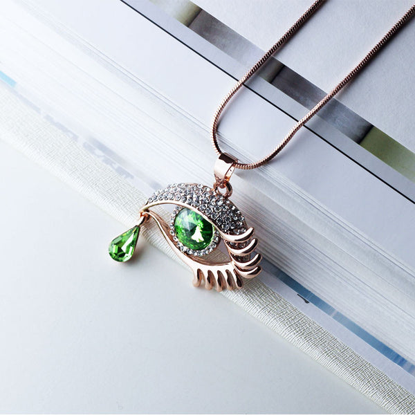 Green Eye With Tears Rose Gold Plated Necklace - 3