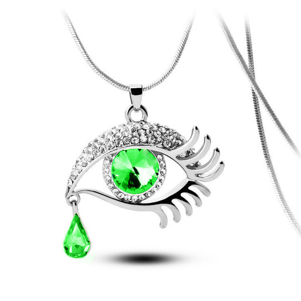 Green Eye With Tears Silver Plated Necklace - 2