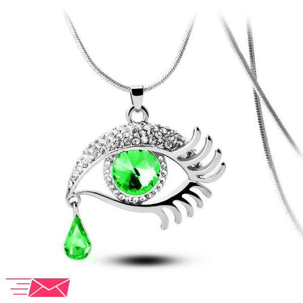 Green Eye With Tears Silver Plated Necklace - 1