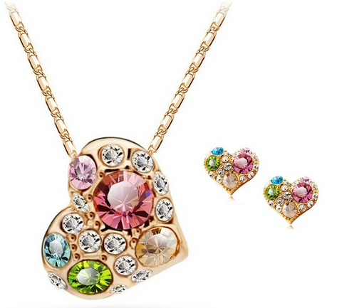 Colorful Heart Necklace With Earrings - 1