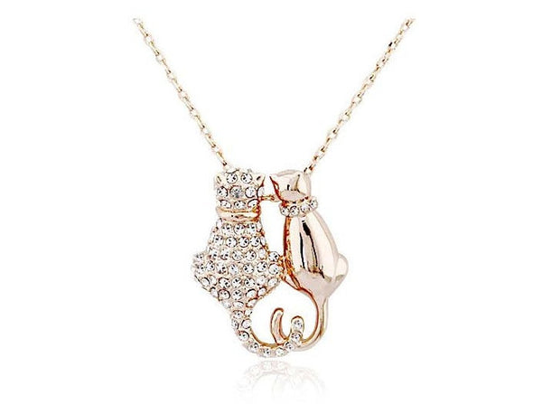 Gold Plated Cat Couple Necklace - 1