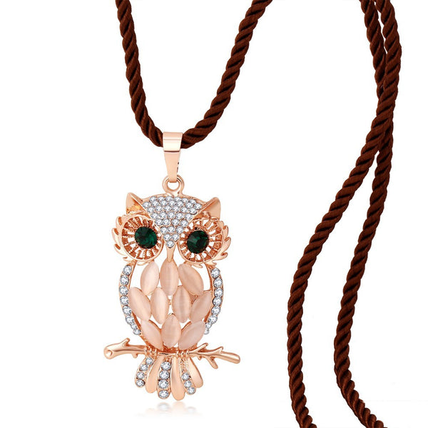 Opal Owl Long Necklace - 2