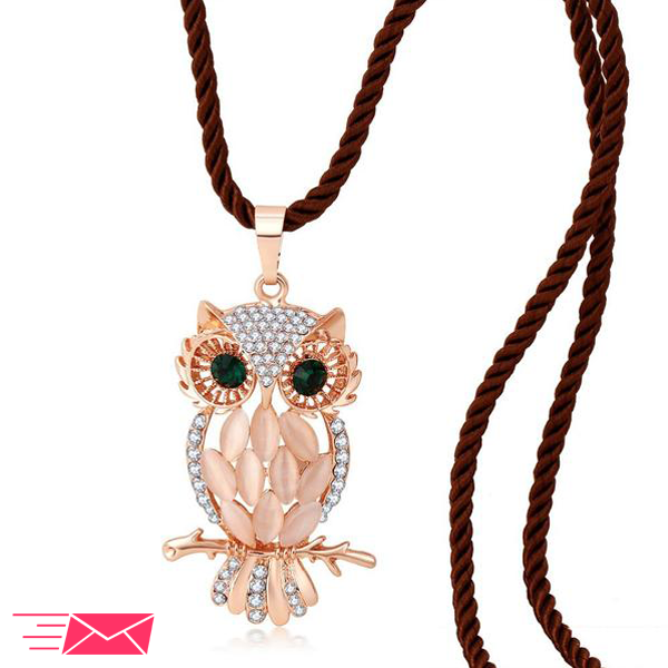 Opal Owl Long Necklace - 1