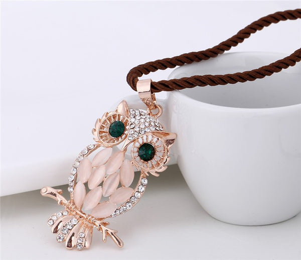 Opal Owl Long Necklace - 3