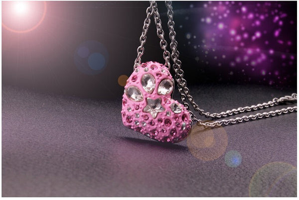Sweet Candy Pink Heart Necklace With Earrings - 2