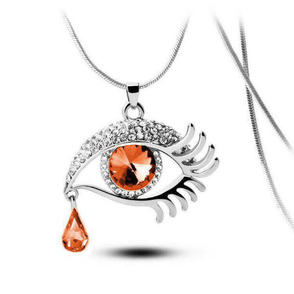 Brown Eye With Tears Silver Plated Necklace - 2
