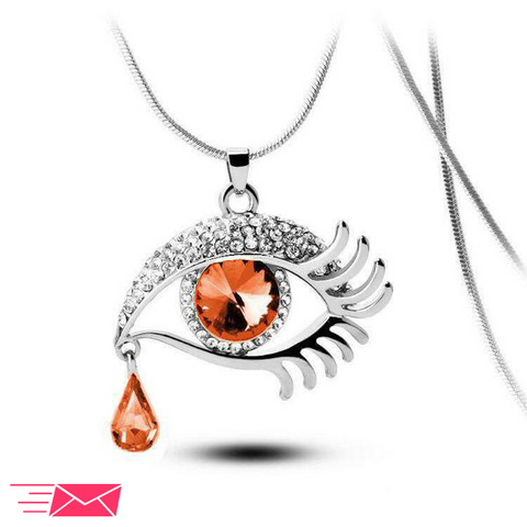 Brown Eye With Tears Silver Plated Necklace - 1