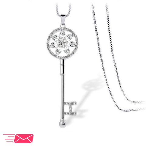 White Gold Plated Clear Flower Key Necklace - 1
