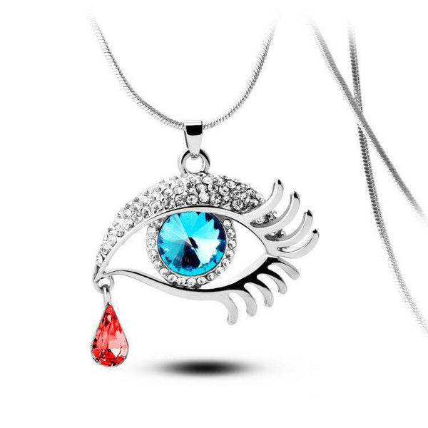 Blue Eye With Tear Of Blood Silver Plated Necklace - 2
