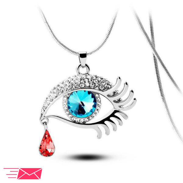 Blue Eye With Tear Of Blood Silver Plated Necklace - 1