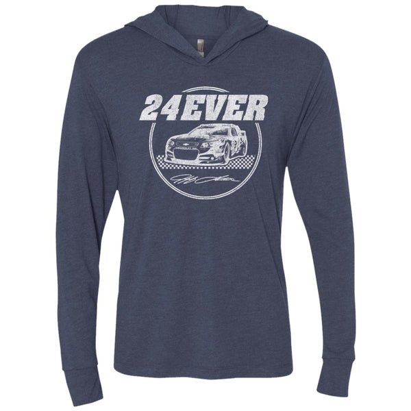 24Ever Vintage Logo Triblend LS Hooded T-Shirt