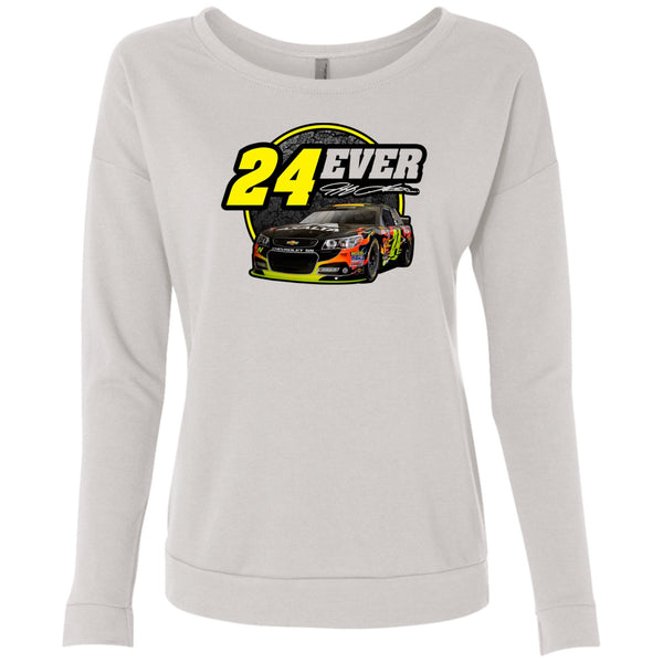 24Ever Car Logo Ladies' Long Sleeve Scoop Neck