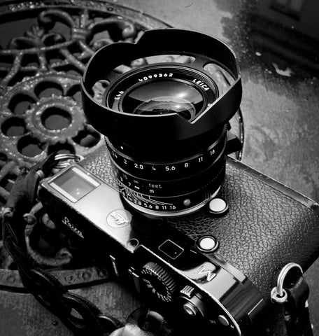 Ventilated Lens shade for the   Leica 35mm Summilux-M ASPH f/1.4 FLE - Tie Her Up camera straps - 1