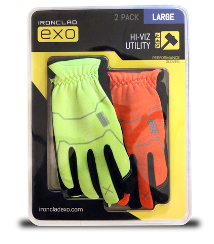EXO® Hi-Viz Utility (Two Pack) , Glove - Ironclad Performance Wear, Ironclad Performance Wear