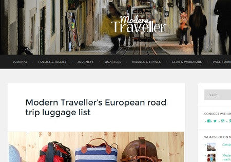 Modern Traveller picks us for their European road trip luggage list