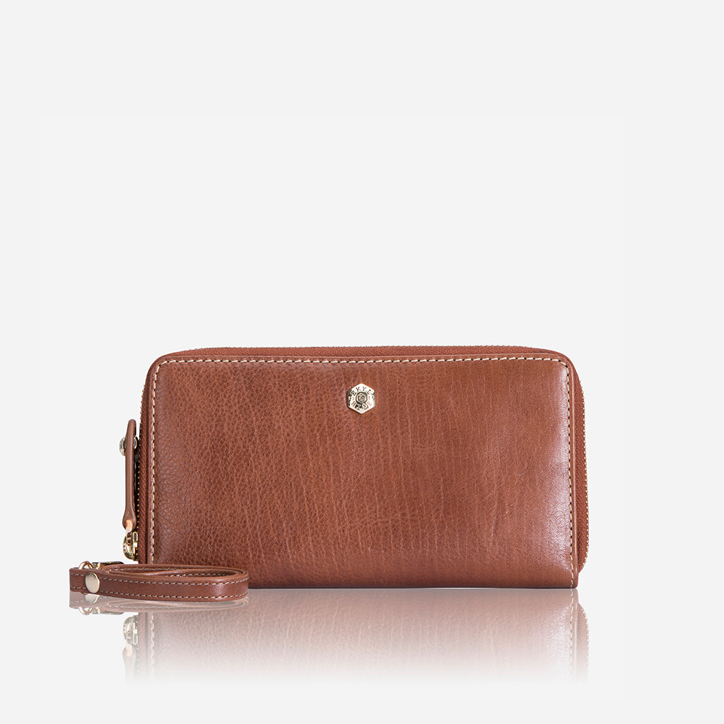 Double Zipper  Wristlet Purse, Tan - Jekyll and Hide SA