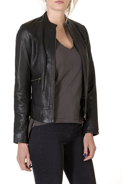 Ladies Leather Black Jacket