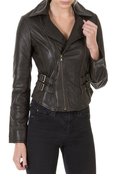 Ladies Chocolate Leather Jacket