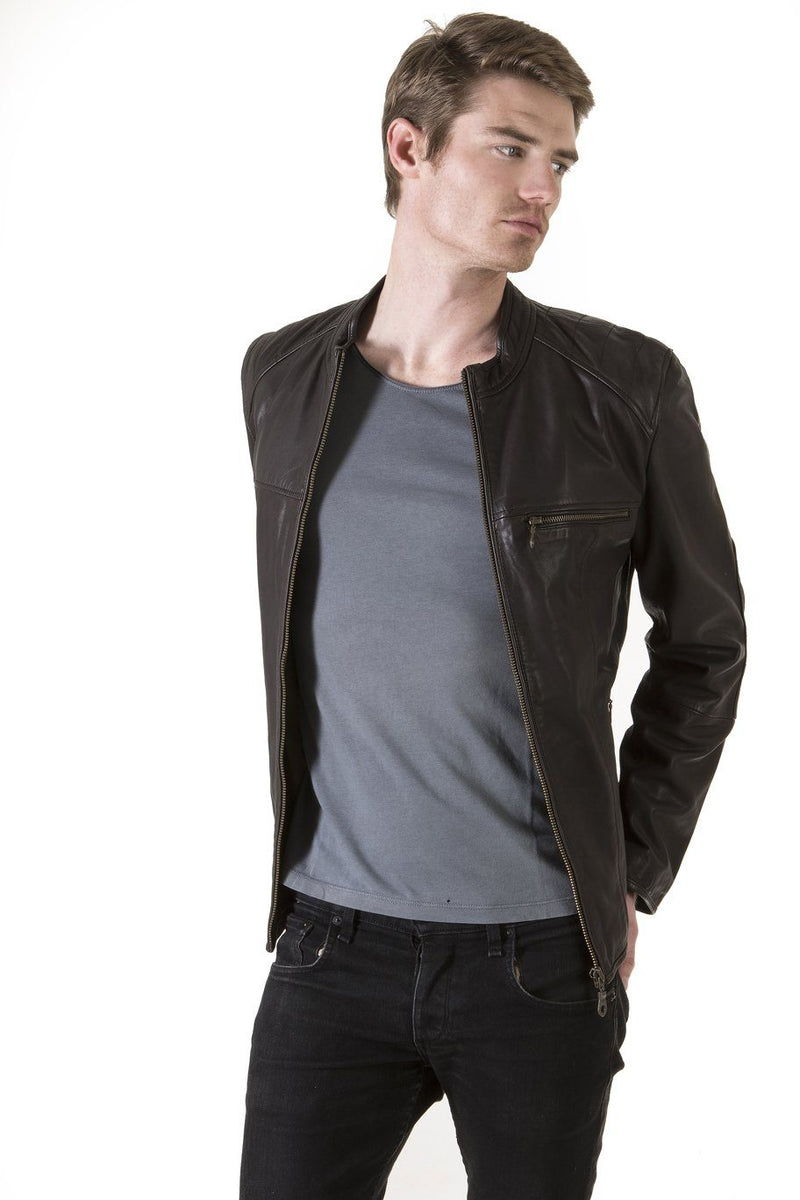 Men's Chocolate Leather Jacket, Chocolate - Jekyll and Hide SA