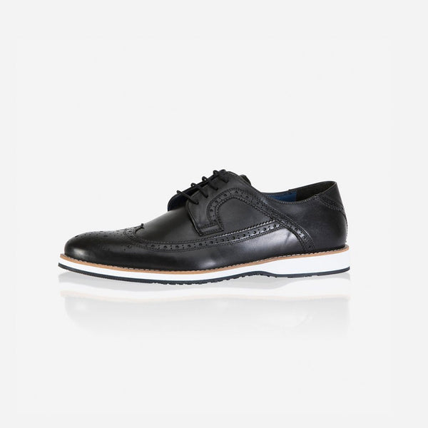 Leather Brogues - Antic Brogue Shoes, Black
