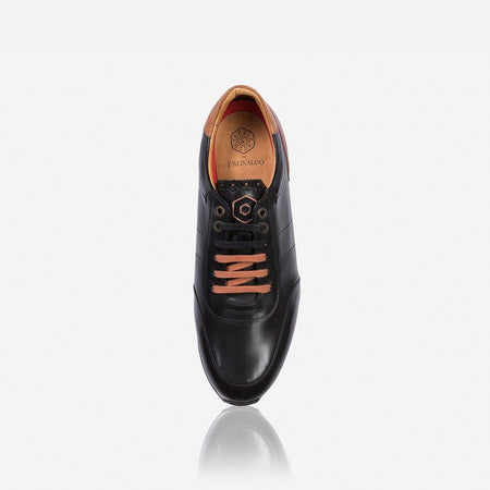 Lisbon Leather Black Sneakers, Black - Jekyll and Hide SA