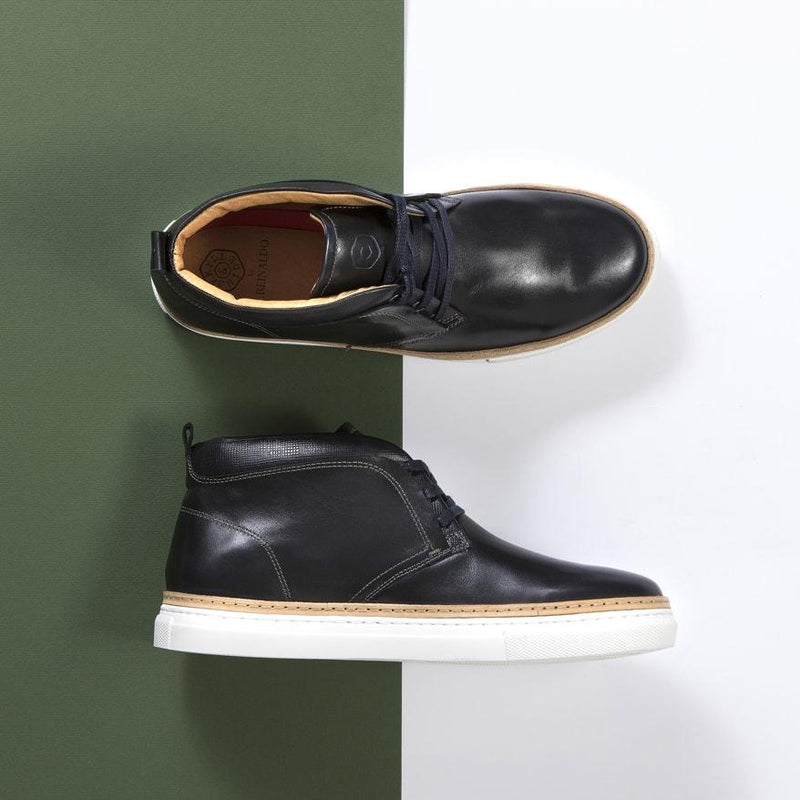 Lisbon Leather Sneakers, Denim - Jekyll and Hide SA
