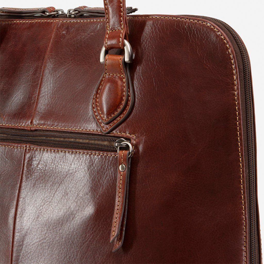 Medium Leather Laptop Handbag, Tobacco - Jekyll and Hide SA