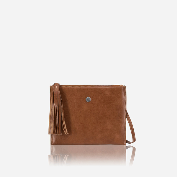 Ladies Slim Leather Crossbody Bag, Tan - Jekyll and Hide SA