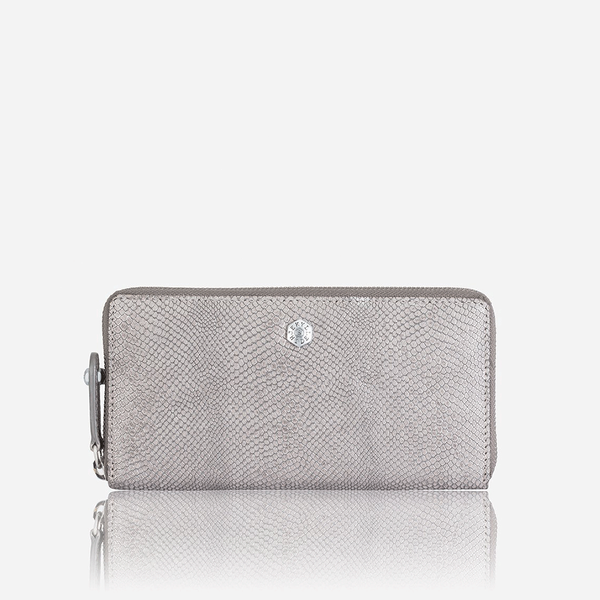 Large Metallic Zip Around Purse, Grey - Jekyll and Hide SA